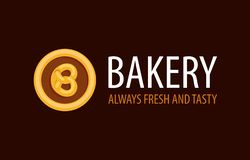 Backery logo with Pretzel in Circle - Always Fresh and Tasty Stock Illustration