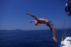 Backflip from a boat Stock Photos