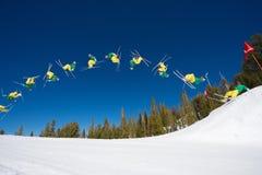 Backflip Sequence Of Skier Stock Photos