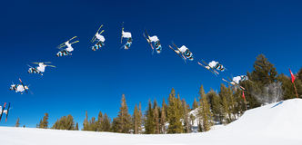 Backflip Sequence of Skier stock image
