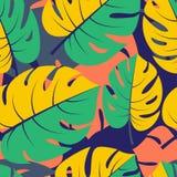 Backg красивых безшовных тропических джунглей флористическое графическое безшовное иллюстрация штока
