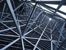 Backg för detalj för arkitektur för modell för ram för stålkonstruktionsmetall royaltyfri bild