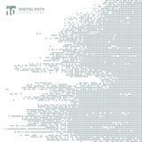 Backg grigio del pixel del modello di tecnologia del quadrato astratto di dati digitali illustrazione vettoriale
