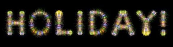 Backg negro horizontal chispeante colorido de los fuegos artificiales del texto del día de fiesta Foto de archivo libre de regalías