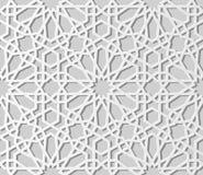 backg senza cuciture della geometria di arte del Libro Bianco 3D del modello islamico dell'incrocio royalty illustrazione gratis