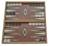 Backgammon, öffnen sich mit Kontrolleuren auf Satz, auf dem weißen Hintergrund, lokalisiert stockbilder