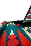 Backgammon über Weiß Stockbilder