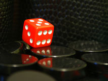 Backgammon #03. Red cube used to play backgammon stock images