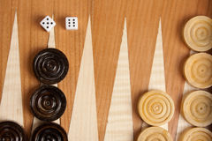 Backgammon. Wooden brown backgammon board game Royalty Free Stock Photos