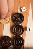 Backgammon. Wooden brown backgammon board game Royalty Free Stock Photography