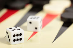 Backgammon. A backgammon board and two dice Stock Photography