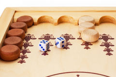 Backgammon. View of dice and game pieces during backgammon game Royalty Free Stock Image