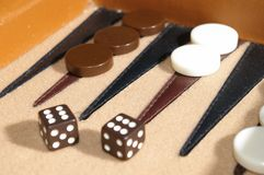 Backgammon 2. Close-up of Backgammon Board and dice in-play Stock Images