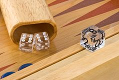 Backgammon 2. Backgammon board with roll of double sixes Stock Image