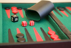 Backgammon. Board game,  close-up Stock Photos