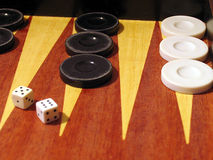 Backgammon. Old backgammon board game royalty free stock images