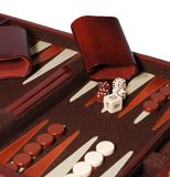 Backgammon. Detail view of portable backgammon game board and pieces Stock Photo