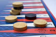 Backgammon. Backgamon with board and counters Stock Photo