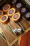 Backgammon. The backgammon and dice with six double Stock Photo