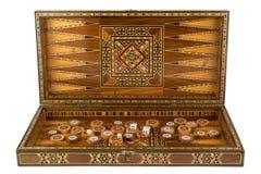 Backgammon auf einem weißen Hintergrund Stockfotografie