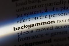 Backgammon. Word in a dictionary.  concept Stock Photo