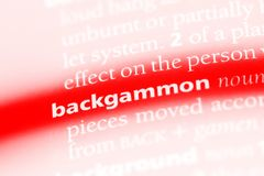 Backgammon. Word in a dictionary.  concept Stock Photography