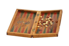 Backgammon board. Retro backgammon board isolated with clipping path included Stock Photos