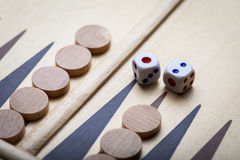 Backgammon board and dice royalty free stock images