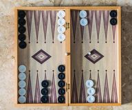 Backgammon board with dice Stock Image