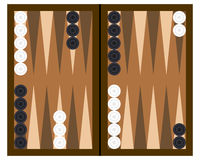 Backgammon Board Game. Wooden backgammon board game with black and white checkers, isolated on white background. Eps file available Stock Images