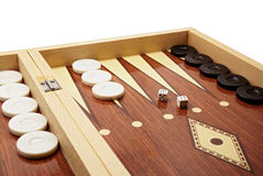 Backgammon Board Game. Backgammon Game Board with Black and White Pieces and Dice royalty free stock photography