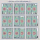 Backgammon boards. Backgammon variants. Royalty Free Stock Photography