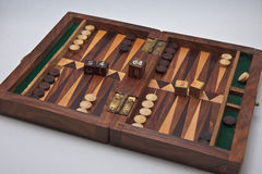 Backgammon box. Backgammon, the first floor of the box ready to start playing game Stock Photos
