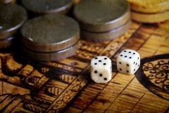 Backgammon dice. A Backgammon dice vintage background Stock Photography