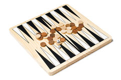 Backgammon game. Backgammon board game close up on white Royalty Free Stock Photos