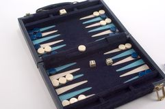 Backgammon Game. Set up as if playing a game, piece is set on bar and doubles have been rolled to release the piece.  Game is a portable, folding game Stock Photo
