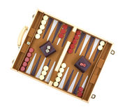 Backgammon game. A backgammon game with pieces, dice, shakers and board on a white background Royalty Free Stock Photography