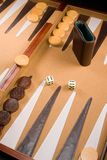 Backgammon Game. Board with dice, pieces, and bars Royalty Free Stock Photography