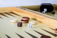 Backgammon game. Backgammon board game close up royalty free stock photos