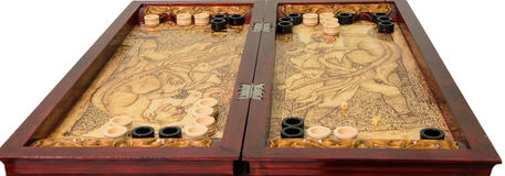 Backgammon game. Backgammon board game isolated on white background royalty free stock images