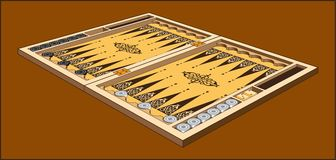 BACKGAMMON  GAME ON THE BROWN BACKGROUND. Color image of a box with chips for backgammon game Stock Photography