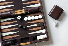 Backgammon Game. Close-up of a portable Backgammon Game stock images