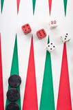 Backgammon game with dice Stock Image