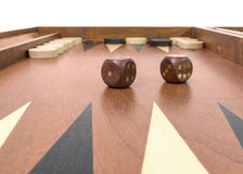 Backgammon game with dice, board and chips Stock Image