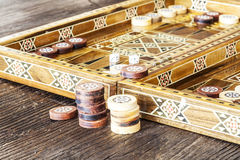 Backgammon game with two dice royalty free stock images