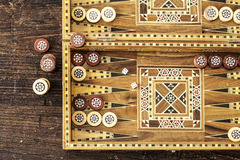 Backgammon game with two dice royalty free stock image