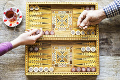 Backgammon game with two dice royalty free stock photo