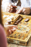 Backgammon game with two dice royalty free stock photography