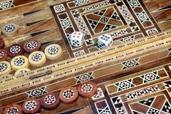 Backgammon game. With two dice, with space for text or image Stock Photo