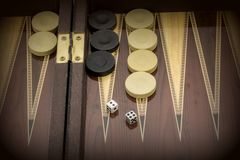 Backgammon game with two dice, with space for text or image.  stock photos